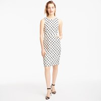 J.Crew Petite Sheath Dress In Polka Dot Textured Tweed