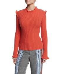 Derek Lam Ribbed Cashmere Ruffle Trim Sweater Bright Coral