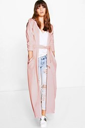 Boohoo Waterfall Belted Maxi Trench Nude