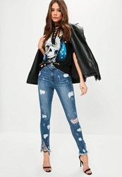 Missguided Blue High Waisted Ripped Skinny Jeans