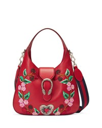Gucci Dionysus Medium Embroidered Flowers Hobo Bag Red Multi