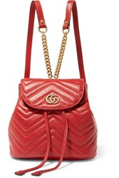 Gucci Gg Marmont Quilted Leather Backpack Red