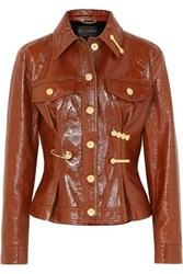Versace Embellished Textured Patent Leather Peplum Jacket Brown