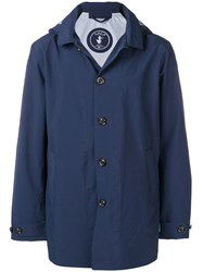 Save The Duck Button Up Rain Jacket Blue