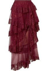 Elie Saab Tiered Cotton Blend Lace And Swiss Dot Tulle Midi Skirt Burgundy