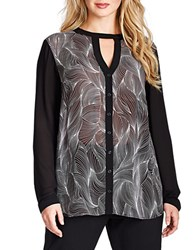Mynt 1792 Plus Chiffon Keyhole Blouse Black Grey