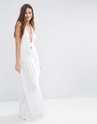Asos Jersey Halter Maxi Beach Dress White