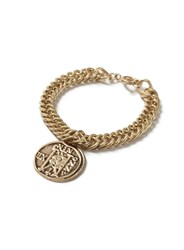 Topman Gold Look Chain Engraved Disk Bracelet