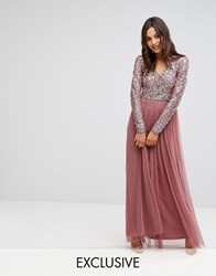 Maya Maxi Dress In Tonal Delicate Sequin With Long Sleeve Red