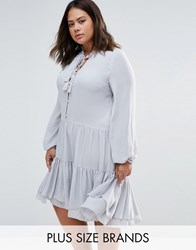 Alice And You Shirt Dress With Frill Hem Gray