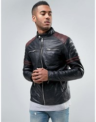 Barney's Barneys Leather Jacket With Stipe Arms Black