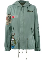 Mr And Mrs Italy Patched Hooded Coat Green