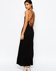 Asos Maxi Dress With Tie Back Black