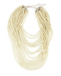 Lydell Nyc Layered Simulated Pearl Beaded Statement Necklace White