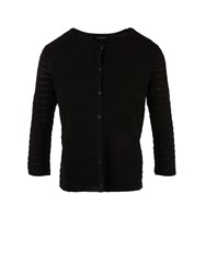 Morgan Openwork Knit Cardigan Black