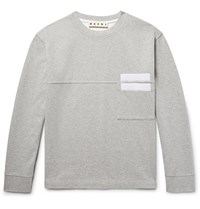 Marni Appliqued Double Faced Cotton Jersey Sweatshirt Gray