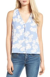 Lush Women's Tie Neck Tank Forever Blue Ivory Floral