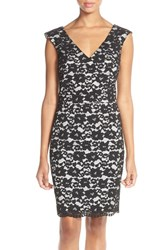 Women's French Connection Lace Sheath Dress Black White