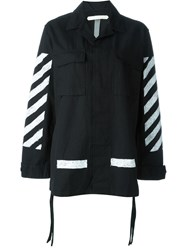 Off White Striped Cargo Jacket Black