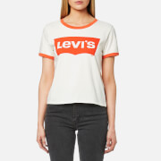 Levi's Women's Orange Tab Ringer Graphic Surf T Shirt Marshmellow White