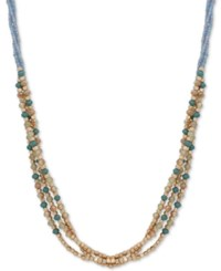 Lonna And Lilly Gold Tone Colored Bead Triple Row 24 Slider Necklace Blue Green