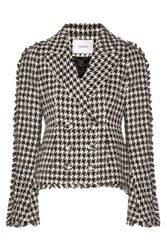Erdem Marsha Metallic Cotton Blend Tweed Jacket Black