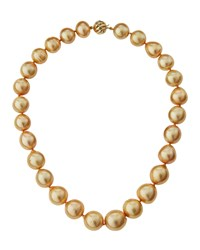 Belpearl 14K Graduated Golden South Sea Pearl Necklace