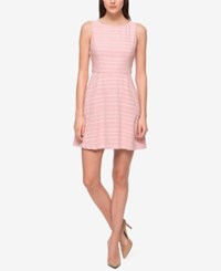 Jessica Simpson Tweed Open Back Fit And Flare Dress Pink