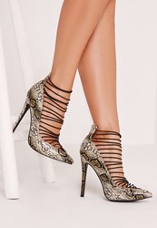 Missguided Ultra Elastic Strappy Court Shoe Snake Animal Print