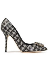 Dolce And Gabbana Woman Crystal Embellished Houndstooth Patent Leather Pumps Gray