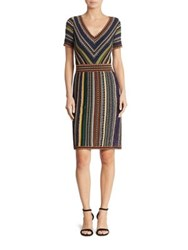 Missoni Short Sleeve V Neck Lame Dress Multicolor