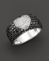 Bloomingdale's Black Diamond Ring With White Diamond Heart In 14 Kt. White Gold 2.35 Ct. T.W. No Color
