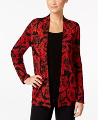 Jm Collection Floral Print Layered Look Top Only At Macy's Red Glass Rose