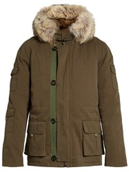 Yves Salomon Fur Lined Cotton Canvas Short Parka Khaki