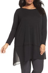 Eileen Fisher Plus Size Women's Stretch Silk Jersey And Crepe Tunic