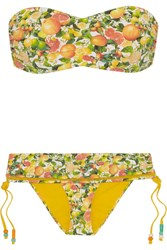 Stella Mccartney Mesh Trimmed Printed Bandeau Bikini Yellow
