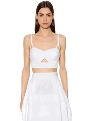 Antonio Berardi Cotton Blend Eyelet Lace Top
