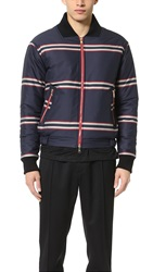 Baartmans And Siegel Striped Heavy Quilted Bomber Red Navy