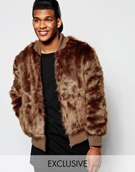 The New County Faux Fur Bomber Jacket Brown