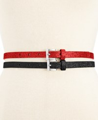 Styleandco. Style And Co. 2 For 1 Glitter Belts Only At Macy's Red Black