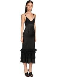 Brock Collection Ruffled Lace And Twill Midi Dress Black