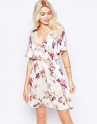 Girls On Film Cross Front Dress In Vintage Rose Print Cream