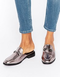 Daisy Street Metallic Backless Loafers Pewter Metallic Silver