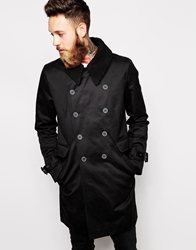 Asos Trench Coat With Removable Borg Collar Black