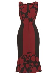 Oscar De La Renta Fluted Hem Floral Brocade Dress Burgundy