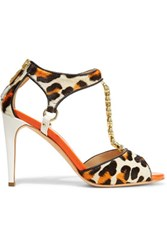 Just Cavalli Printed Calf Hair And Patent Leather Sandals Multi