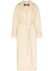 Jacquemus Single Breasted Trench Coat Neutrals