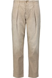Current Elliott The Tapered Cotton Blend Straight Leg Pants Beige