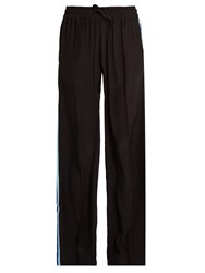 Serena Bute Drawstring Wide Leg Silk Trousers Black Blue
