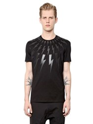 Neil Barrett Flashes Printed Cotton Jersey T Shirt